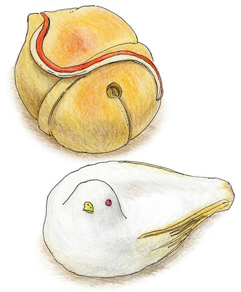 福寿堂秀信の上生菓子、七五三の鈴と鳩笛